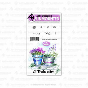Watercolor Mini Flower Set Cling Rubber Stamp Set Art Impressions 5009 New