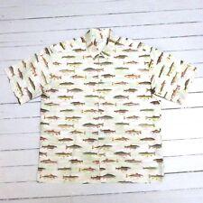 Vintage Men's PIERRE CARDIN 100% Cotton Fish Design Button Up Shirt (XL) (GREAT)