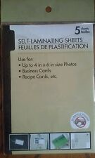 "SELF LAMINATING SHEETS 4""x 6"" 5 SHEETS FAST & EASY TO USE No Machine Required"