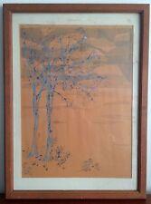 Mid Century Modern Woodblock Print c.1960s Fall trees and sky