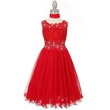 RED Flower Girl Dress Bridesmaid Wedding Birthday Party Graduation Pageant Prom