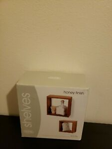 Honey finish floating shelves set of two 6Hx6Wx4D and  8Hx8Wx4D