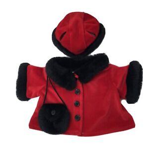 BAB Build A Bear Red Velvet Velour Fur Jacket  Hat Purse Winter Christmas Holida