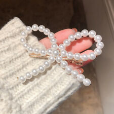 Trendy Pearl Bow Hairpin Clip Claw Female Imitation Pearl Beads Hair Accessories