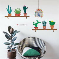 Beautiful Cactus Flower Pot Wall Stickers Home Decal Plant Pastoral Mural  JN so