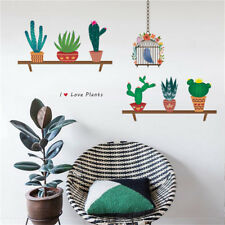 Beautiful Cactus Flower Pot Wall Stickers Home Decals Plant Pastoral Mural Art