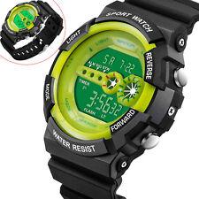 Mens Stainless Steel LED Digital Date Alarm Waterproof Sports Army Quartz Watch