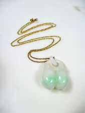 UNUSUAL ANTIQUE CHINESE CARVED WHITE GREEN JADE FRUIT PENDANT NECKLACE 14K GOLD