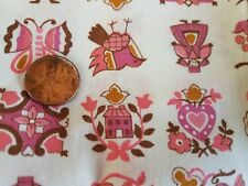 Antique VTG Fabric Franklin Square Cotton Quilting Pink Pennsylvania Dutch Print