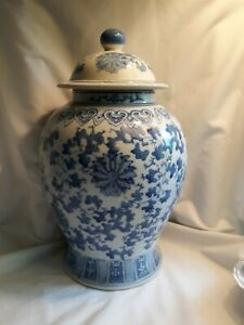 """Vintage Large 12"""" Tall White & Blue Ginger Jar Pot Made in China"""
