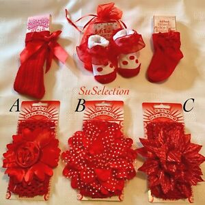 BABY GIRLS BEAUTIFUL RED HEADBAND & SOCKS SET- RIBBON & BOWS-0/6 MONTHS-NEW