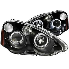 ANZO PROJECTOR HEADLIGHTS WHALO BLACK FITS 2002-2004 ACURA RSX 121359