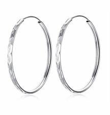 *UK* 925 Silver Plt Large Thin Round Circle Pattern Hoop Earrings Big Hoops 60Mm