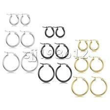 3 Pairs Girl Women Stainless Steel Hoop Earrings Set Huggie Earrings  10MM-20MM