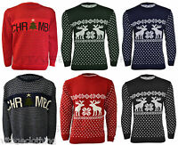 Mens Unisex Christmas Reindeer Novelty Knitted Xmas Knitwear Top Jumper S M L XL