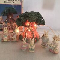 Vintage 7 Piece Bunny And Lighted Tree House Set Easter Decoration Home Decor