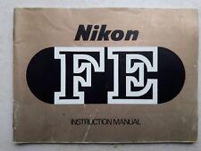 notice mode d'emploi INSTRUCTION MANUAL NIKON FE ENGLISH