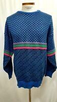 Vintage 90s KALAROO Australia Hip Hop Coogi Style Sweater Large Cotton blue
