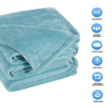 """Sonoro Kate Fleece Blanket Soft Warm Throw Size 60"""" X 43"""" Inches Turquoise"""