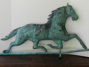 Good Vintage Antique Copper Running Horse Weathervane