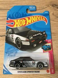 Hot wheels long card Toyota Trueno Ae86 falken 2021 noir gris