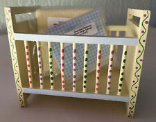 Vintage Dollhouse Miniature Wood Furniture Mh Baby Bed Polka Dot Crib Nursery