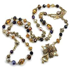 NEW SWEET ROMANCE BAROQUE ROSARY CROSS NECKLACE ~~MADE IN USA ~~