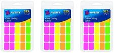 """1,575 Avery Color Coding Labels 1/2"""" x 3/4"""" Rectangular Removable Assorted Neon"""