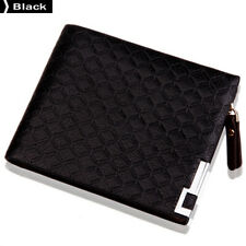 Male Business Casual Fashion Lattice Short Style Zipper Wallet Black