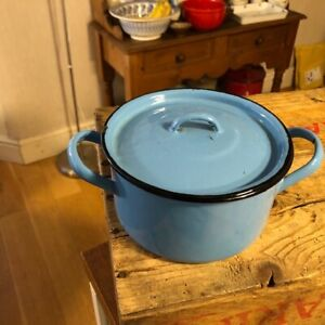 Vintage Bright Blue Enamel Small Twin-Handled Cooking Pot / Pan – Great! –