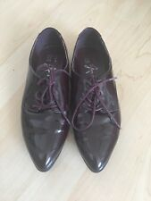 Women's Atmosphere Maroon PVC Shiny Wetlook Lace Brogues Size UK 4 EUR 37