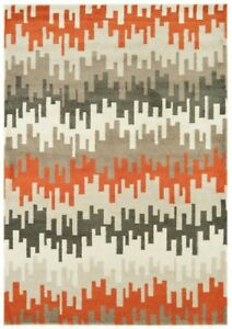 The Rug House Vogue Modern Grey Orange Soft Warm Durable Artistic Designer...