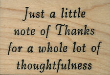 """mounted rubber stamp Just a little note of Thanks   1 3/4"""" X 2 1/2"""""""