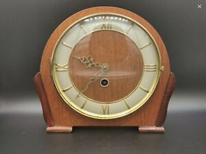 Art Deco Wooden Mantle Clock Mechanical Movement Working