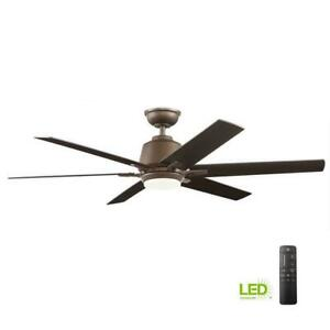Kensgrove 54 in. Int. LED Indoor Espresso Bronze Ceiling Fan w/Light & Remote