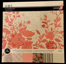 """SEI Juliette Paper Pad Flowers Doilies Floral Flowers Valentine 6x6 6"""" NEW"""