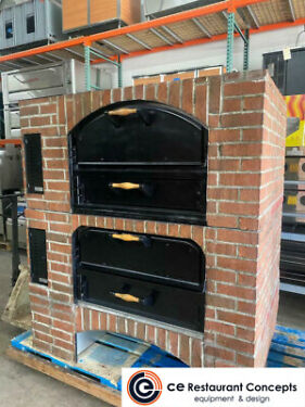 Used Marsal MB422 625 Brick Lined Pizza Oven Gas Stacked