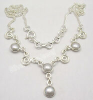 "925 Sterling Silver WHITE AAA PEARL WELL MADE Necklace 17.7"" FACTORY DIRECT"