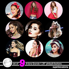 "Ariana Grande SET OF 9 PINBACK BUTTONS badges pins 1.25"" victorious #1370"