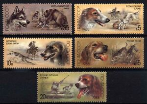9896 RUSSIA 1988 HUNTING DOGS MNH