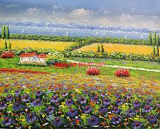 "20x24""(41x61cm)hand painted oil flat .Mediterranean/ Flower Field /High Quality"
