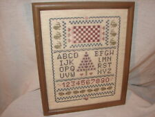 Handcrafted Needlepoint Sampler ABC Picture ~ Nice Wood Frame Sampler Picture