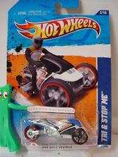 2011 Hot Wheels TRI & STOP ME motorcycle #172☆White/blue/red rim ☆Beach Patrol