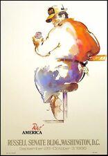 "William Papas ""Papa's America"" Washington DC Art Show Poster bar patron 1986"
