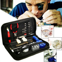 144Pcs Watchmaker Watch Repair Tool Kit Back Case Opener Remover Spring Pin Bar