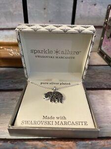 Sparkle Allure Pure Silver Silver Plated Elephant Necklace. Swarovski Marcasite6