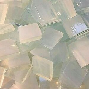 """1/2"""" CLEAR WHITE Stained Glass Mosaic Tiles (100 PIECES)"""