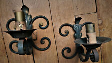Antique Pair French Wrought Iron Salvaged Oak Leaf Wall Sconces Light Fixtures