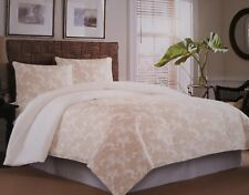 New Tommy Bahama Grand Turk Floral Taupe 3 Piece Comforter and Shams Set Queen