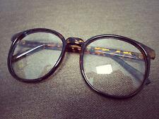 Brown Tortoise-Shell Patten Round Oversized Retro Geek Nerd Glasses 60s 80s